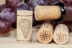 Бутылки красного вина с пробочками на деревянном Стоковая Фотография RF