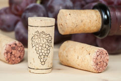 Бутылки красного вина с пробочками на деревянном Стоковая Фотография