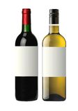 Бутылки красного и белого вина изолированного на белизне Стоковая Фотография RF