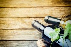 Бутылки красного и белого вина Стоковая Фотография