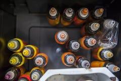 Бутылки красочных чернил татуировки Стоковые Фотографии RF