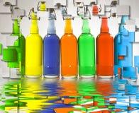бутылки красят заполнено Стоковые Изображения RF