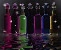 бутылки красят заполнено иллюстрация штока