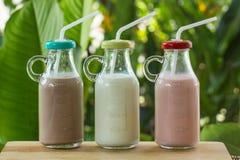 Бутылки клубники, шоколада и парного молока Стоковое Фото