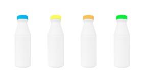 Бутылки молока изолированные на белизне Стоковое Изображение RF