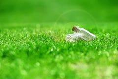 2 бутылки на траве Стоковая Фотография