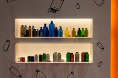 Бутылки на Chem-Med, среднеземноморском химическом ev Стоковое Изображение RF