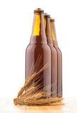 Бутылки домашнего сделанного пива на таблице Стоковые Фото
