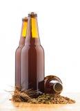 Бутылки домашнего сделанного пива на таблице Стоковое фото RF