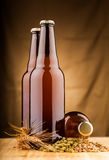 Бутылки домашнего сделанного пива на таблице Стоковое Фото