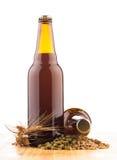 Бутылки домашнего сделанного пива на таблице Стоковое Изображение RF