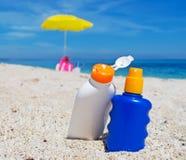 Бутылки лосьона Suntan Стоковое Изображение