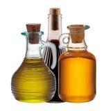 3 бутылки оливки, масла и уксуса Стоковые Фотографии RF