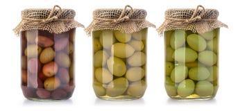 Бутылки оливок на белизне Стоковое Изображение
