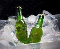 Бутылки пива на льде Стоковая Фотография