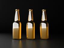 бутылки пива предпосылки красят нежный померанцовый сфотографированный желтый цвет студии Стоковые Фото