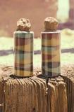 2 бутылки покрашенного песка Стоковые Изображения