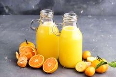 2 бутылки сока цитруса служили с свежим цитрусом всех и куска на серой предпосылке Стоковое Фото