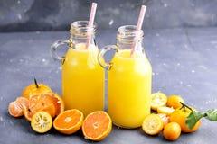 2 бутылки сока цитруса служили с свежим цитрусом всех и куска на серой предпосылке Стоковое фото RF
