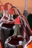 Бутылки стекла с красным вином Стоковые Изображения