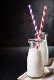 2 бутылки с молоком Стоковая Фотография