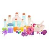 Бутылки с органическим необходимым комплектом бара масла и мыла ароматности Стоковые Изображения
