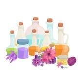 Бутылки с органическим необходимым комплектом бара масла и мыла ароматности Стоковые Фото