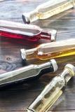 Бутылки с различными видами уксуса Стоковые Изображения