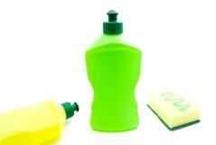 2 бутылки тензида и губки Стоковое Изображение RF