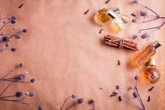 Бутылки дух с ингридиентами Стоковое Изображение RF