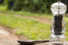 Бутылки черного перца и деревянная ложка на предпосылке природы конец вверх Стоковые Фотографии RF