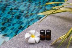 Бутылки эфирного масла ароматности и цветка frangipani или plumeria на предпосылке бассейна Стоковые Фотографии RF