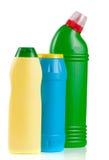 3 бутылки cleansers изолированных на белой предпосылке Стоковая Фотография RF