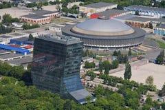 Бухарест, Румыния, 15-ое мая 2016: Вид с воздуха Romexpo стоковое фото
