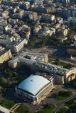 Бухарест, Румыния, 4-ое октября 2015: Вид с воздуха Sala Palatului стоковые фотографии rf