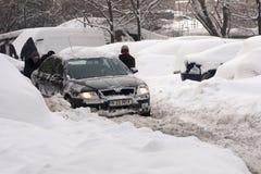 БУХАРЕСТ РУМЫНИЯ - 14-ое февраля: Аномалии погоды Стоковое фото RF