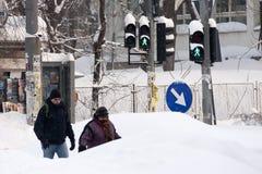 БУХАРЕСТ РУМЫНИЯ - 14-ое февраля: Аномалии погоды Стоковое Изображение