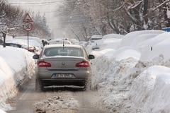БУХАРЕСТ РУМЫНИЯ - 14-ое февраля: Аномалии погоды Стоковые Фотографии RF