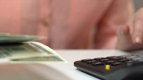 Бухгалтер считая долларовые банкноты, бюджет планирования, обмен валюты, доход акции видеоматериалы