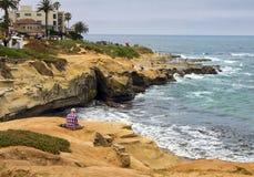 Бухта пляжа La Jolla в южной Калифорнии стоковая фотография