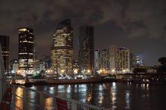 Буэнос-Айрес от корабля на ноче Стоковая Фотография RF