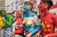 Буэнос-Айрес, c A B A , Аргентина - 30-ое ноября 2018: протест саммита g20, Буэнос-Айрес стоковые фотографии rf