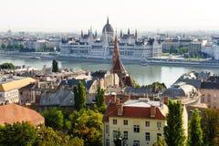 Будапешт, взгляд от стороны Buda к бичу Стоковые Фотографии RF