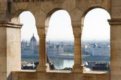 Будапешт, взгляд от стороны Buda к бичу Стоковая Фотография RF