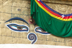 Будда наблюдает на Swayambhunath Стоковые Изображения RF