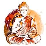 Будда Нарисованное рукой искусство стиля grunge Красочная ретро иллюстрация вектора Стоковое фото RF