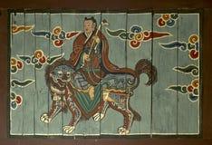 Буддийская настенная живопись в Северной Корее виска Pohyon Стоковое Изображение RF