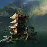 Буддийский висок в горах иллюстрация вектора