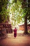 Буддийский монах на старом Wat Mahathat ayutthaya Таиланд Стоковая Фотография RF
