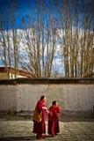 2 буддийских монаха монастыря Shigaste Тибета Tashilompu Стоковое Изображение RF